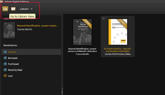 esimerkkikuva 1 digital editions menu